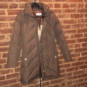 Brown Calvin Klein Down 3/4 Coat